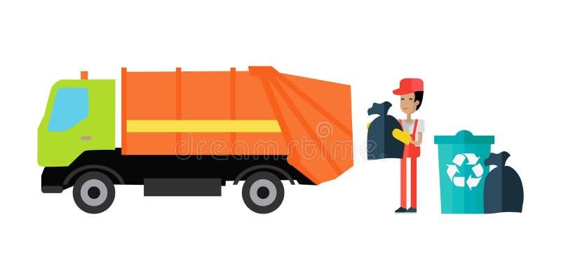 Vecteur de concept d'enlèvement de déchets d'utilités illustration de vecteur