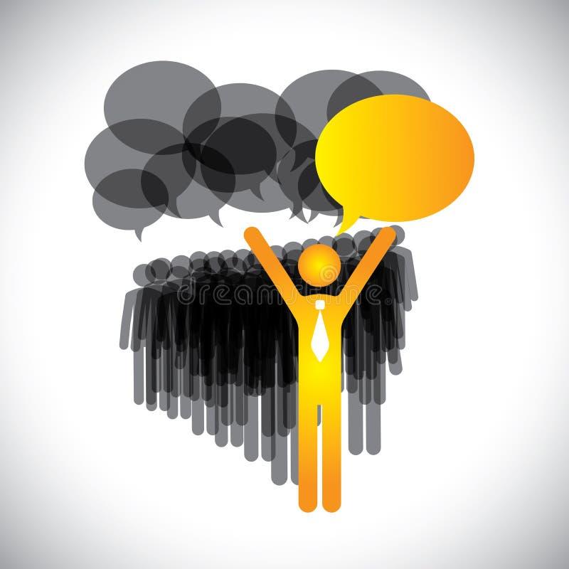 Vecteur de concept de direction - directeur et Di des employés illustration libre de droits