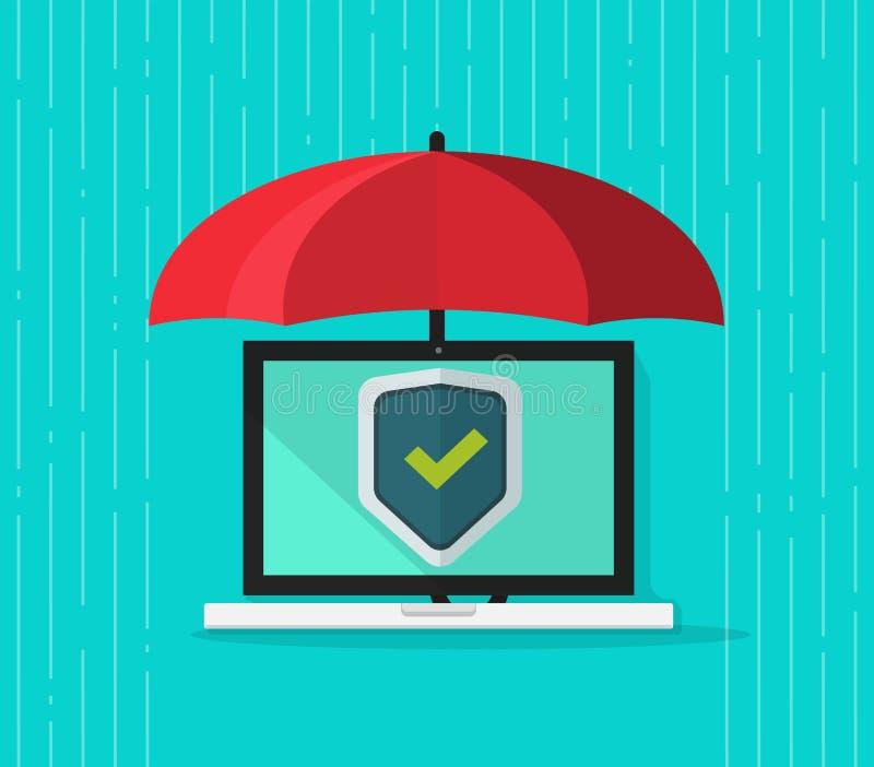 Vecteur de concept de protection d'ordinateur, PC plat d'ordinateur portable de bande dessinée illustration de vecteur