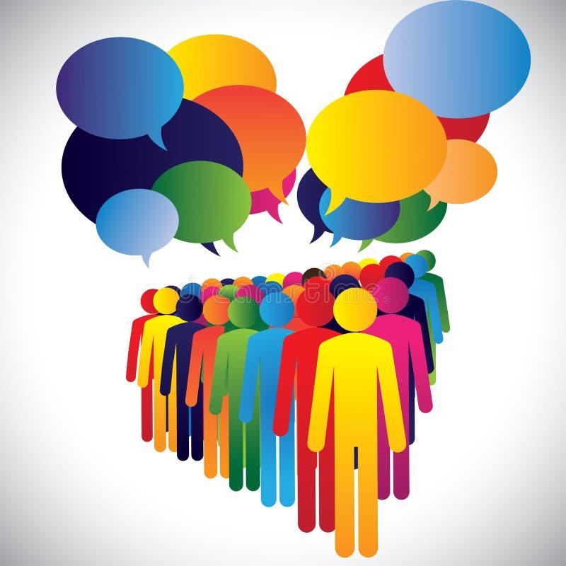 Vecteur de concept - interaction et communication des employés de société illustration libre de droits