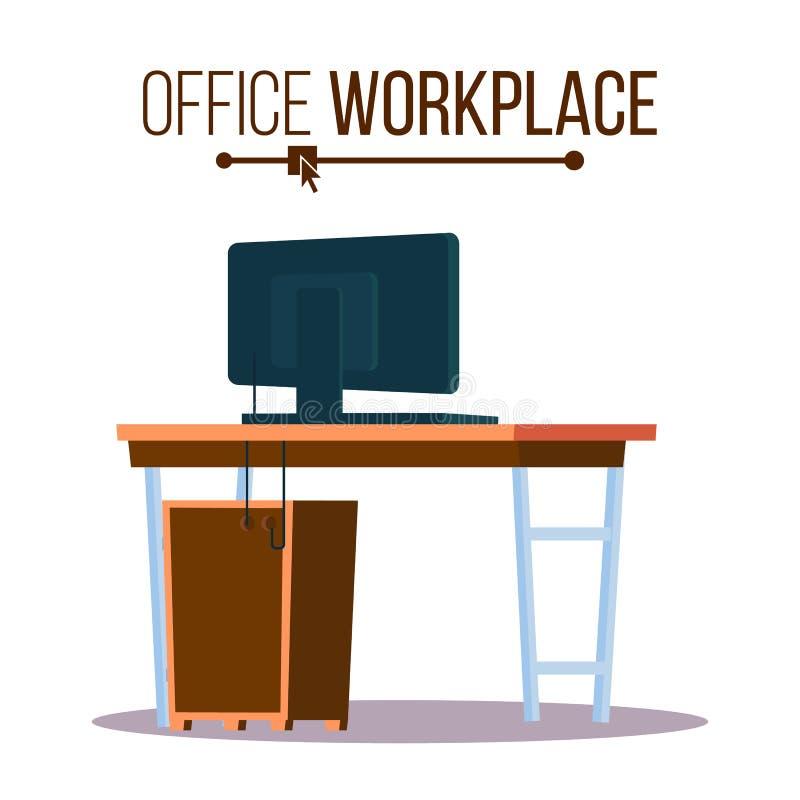 Vecteur de concept de lieu de travail de bureau Lieu de travail de meubles pour le patron Cahier I Illustration de bureau illustration libre de droits