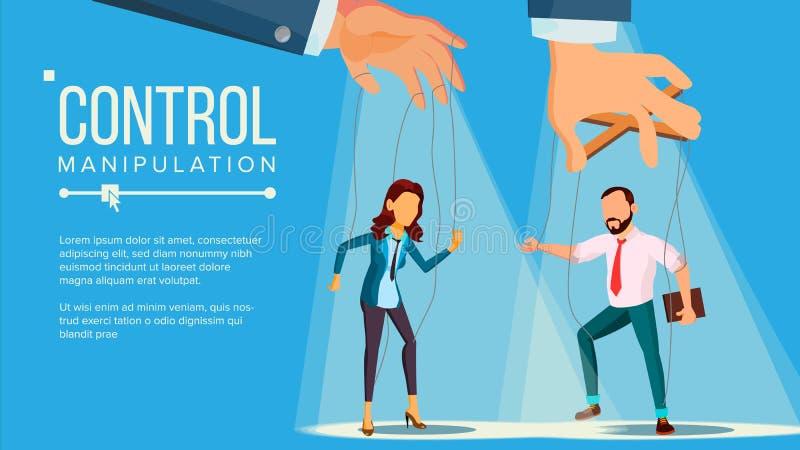 Vecteur de concept de marionnette Grande main de gestion de manipulation employé Travailleur sur des cordes Injustement utilisant illustration libre de droits
