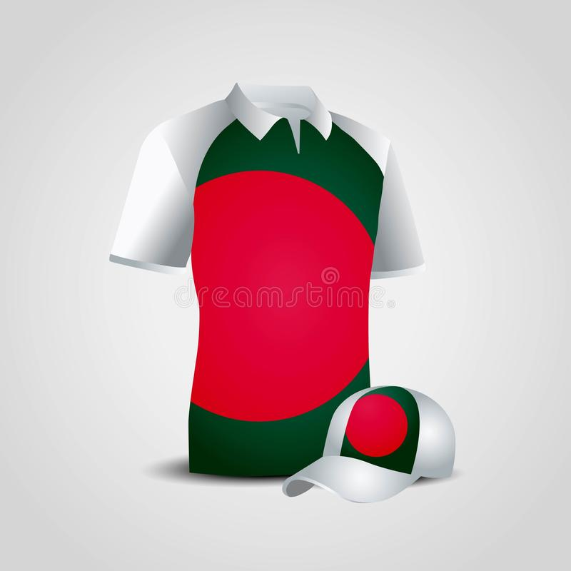 Vecteur de conception de chemise de drapeau du Bangladesh illustration stock