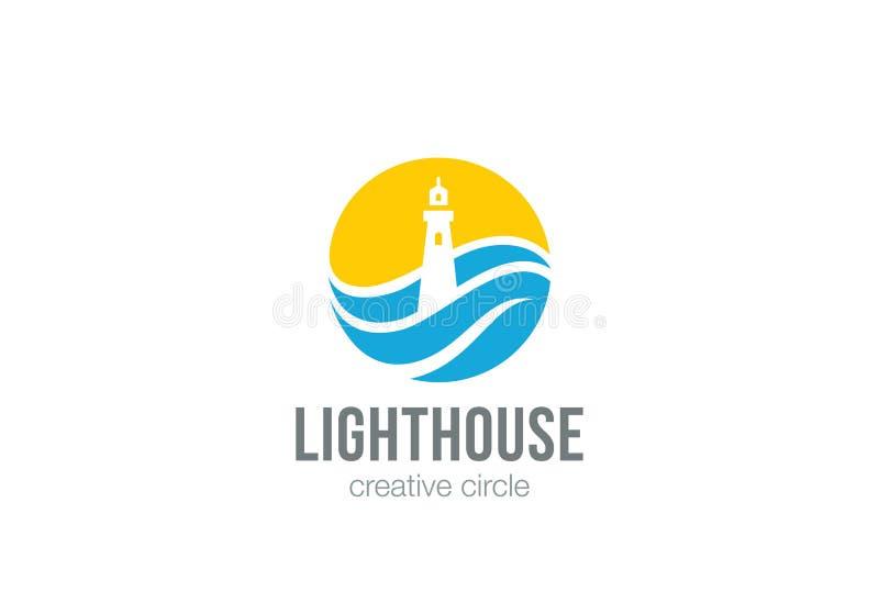Vecteur de conception d'abrégé sur cercle de logo de phare illustration stock