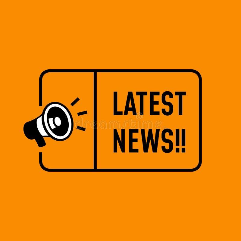 Vecteur de conception d'autocollant de dernières nouvelles icône de mégaphone de haut-parleur avec le texte et cadre simple pour  illustration stock