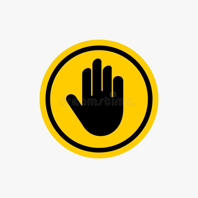 Vecteur de conception d'icône de panneau d'avertissement d'arrêt de main images stock