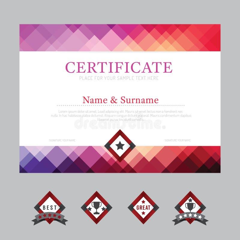 Vecteur de conception de cadre de fond de disposition de calibre de certificat mode illustration libre de droits