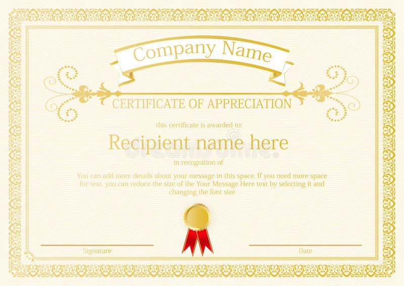 Vecteur de conception de calibre de cadre de certificat de récompense illustration libre de droits