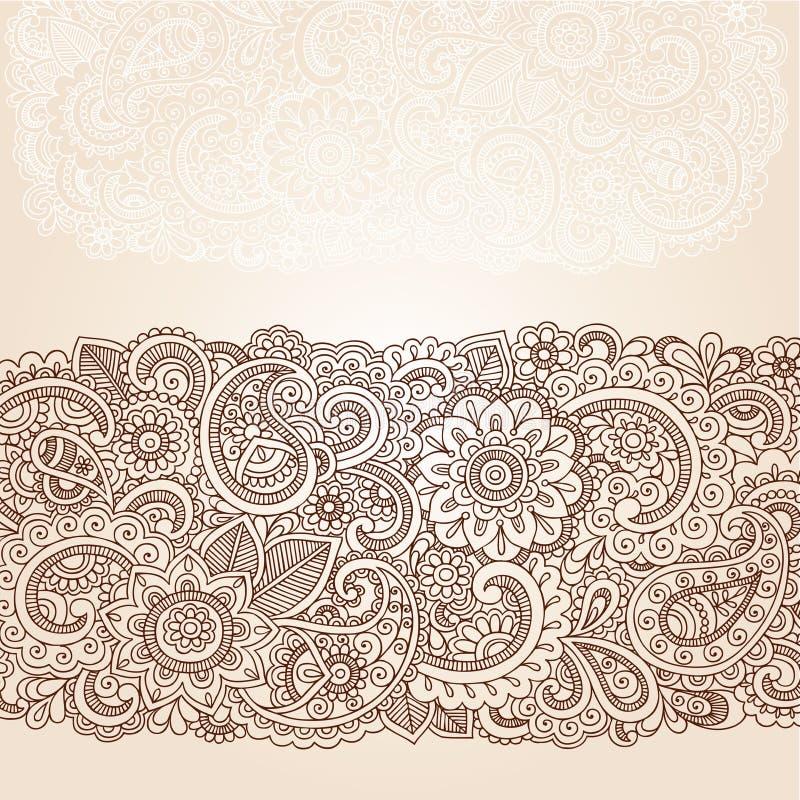 Vecteur de conception de frontière de Mehndi Paisley de henné illustration libre de droits