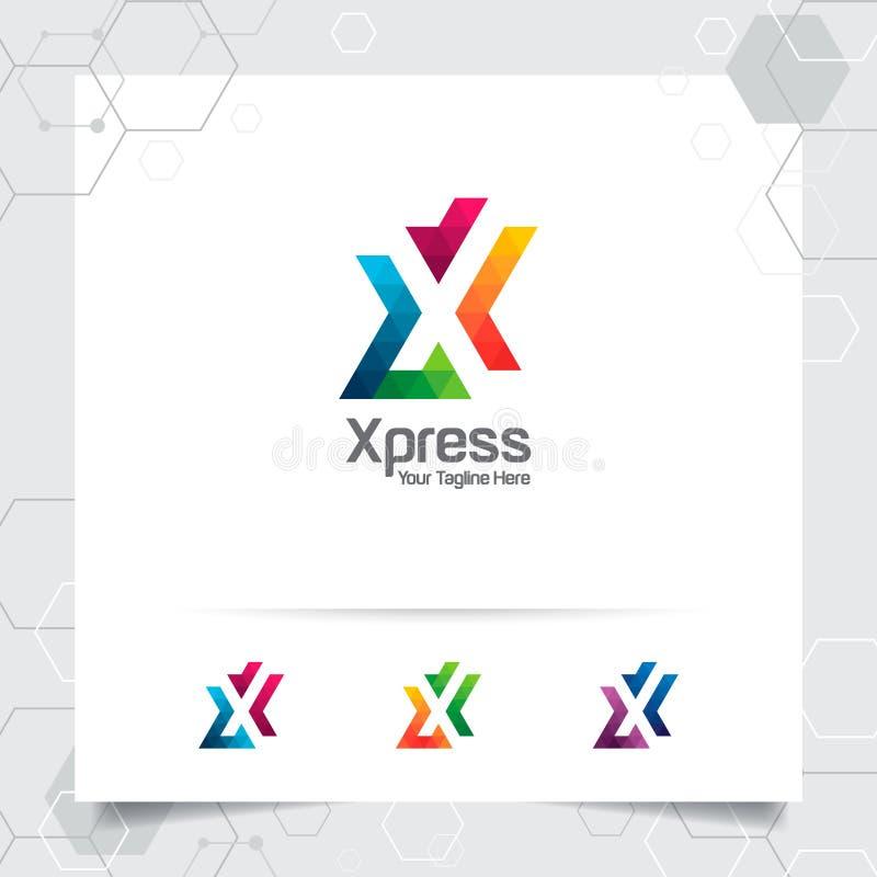 Vecteur de conception de la lettre X de logo de Digital avec l'icône colorée moderne de pixel pour la technologie, le logiciel, l illustration libre de droits