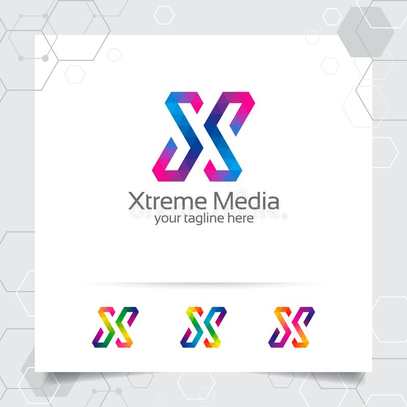 Vecteur de conception de la lettre X de logo de Digital avec l'ic?ne color?e moderne de pixel pour la technologie, le logiciel, l illustration libre de droits