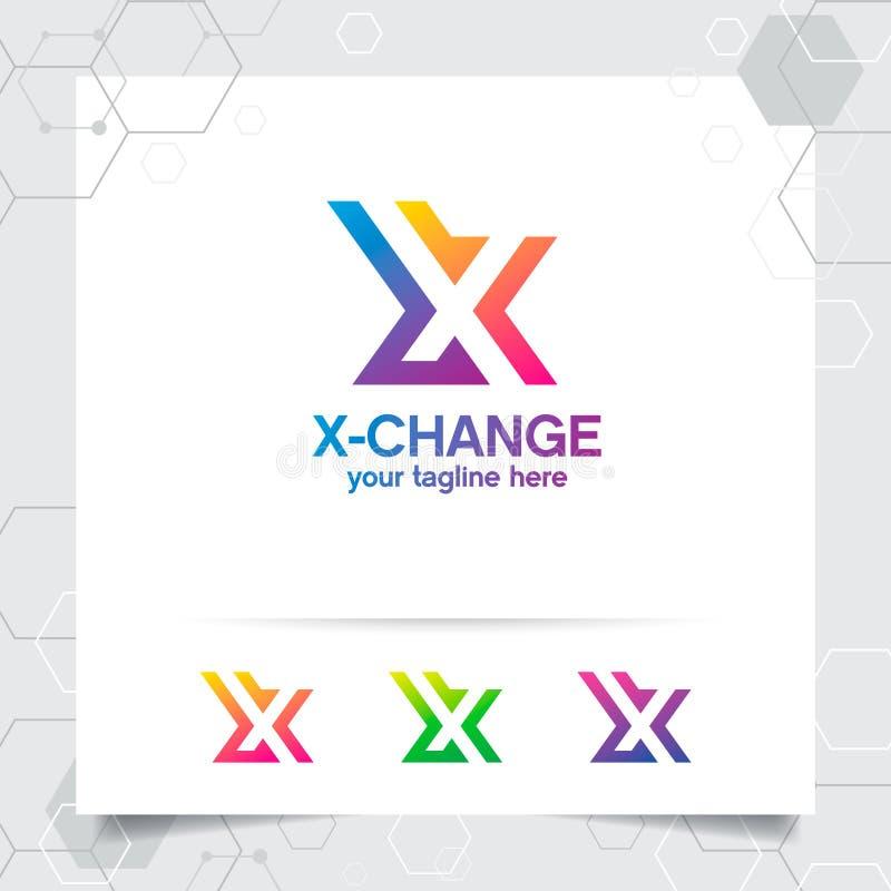 Vecteur de conception de la lettre X de logo de Digital avec l'ic?ne color?e moderne de pixel pour la technologie, le logiciel, l illustration de vecteur