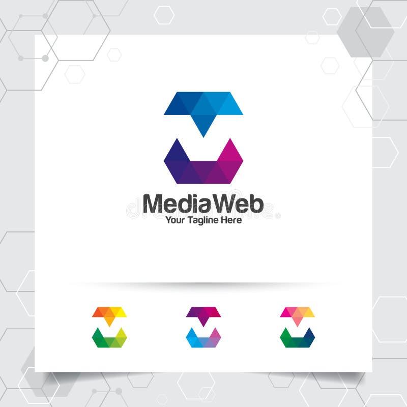 Vecteur de conception de la lettre M de logo de Digital avec l'icône colorée moderne de pixel pour la technologie, le logiciel, l illustration stock