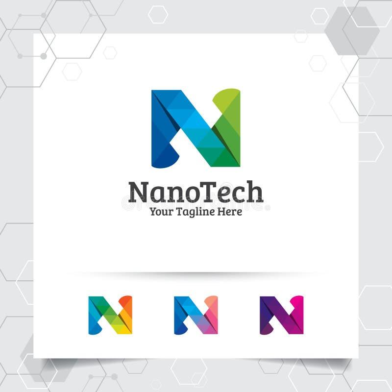 Vecteur de conception de la lettre N de logo de Digital avec le pixel color? moderne pour la technologie, le logiciel, le studio, illustration stock