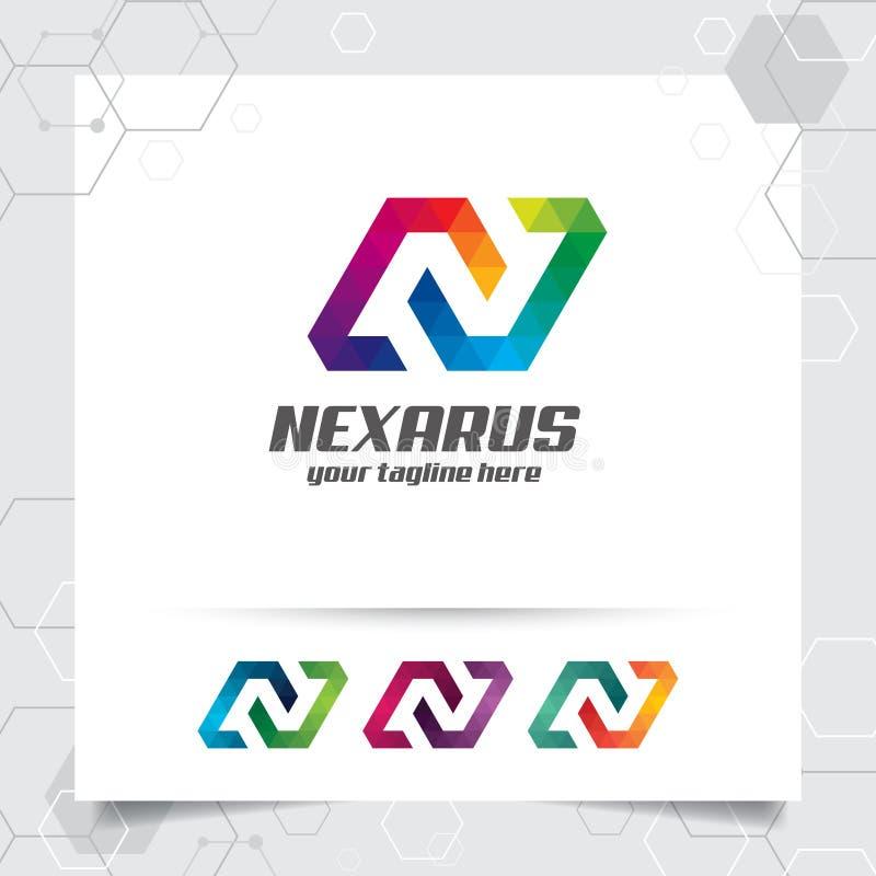 Vecteur de conception de la lettre N de logo de Digital avec le pixel color? moderne pour la technologie, le logiciel, le studio, illustration de vecteur