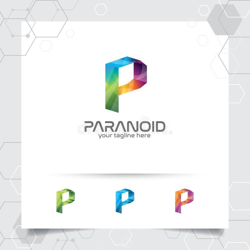 Vecteur de conception de la lettre P de logo de Digital avec le pixel coloré moderne pour la technologie, le logiciel, le studio, illustration stock