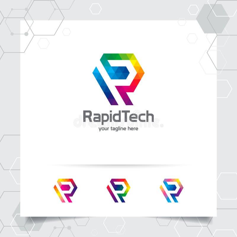 Vecteur de conception de la lettre R de logo de Digital avec le pixel coloré moderne pour la technologie, le logiciel, le studio, illustration libre de droits