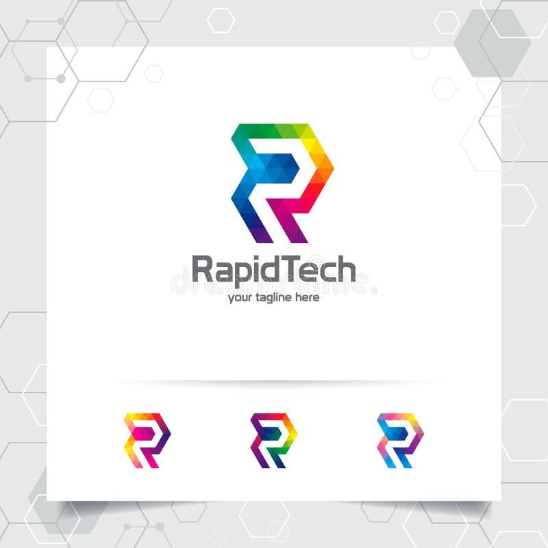 Vecteur de conception de la lettre R de logo de Digital avec le pixel color? moderne pour la technologie, le logiciel, le studio, illustration de vecteur