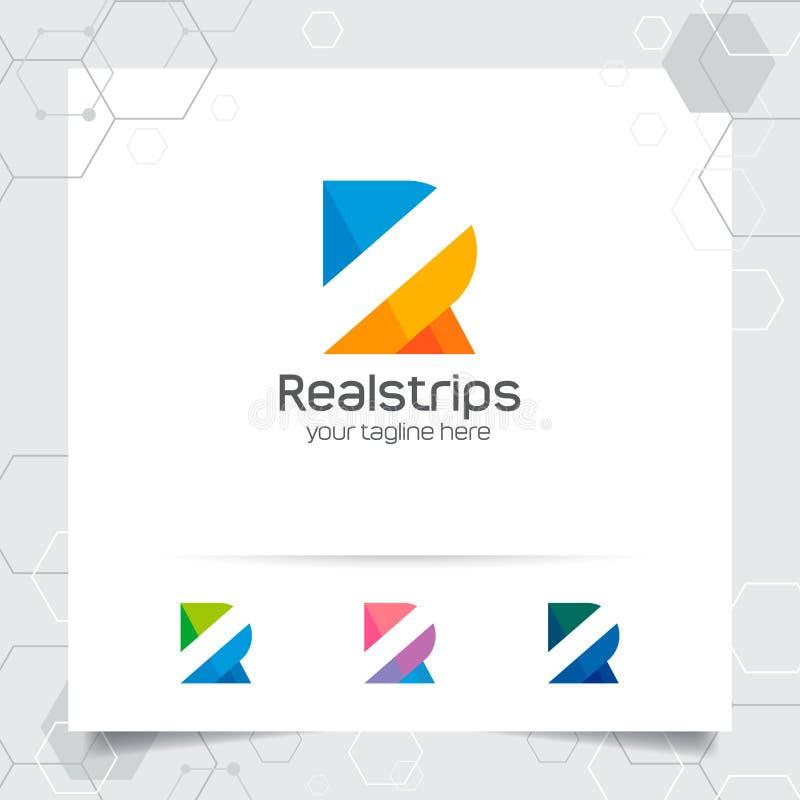 Vecteur de conception de la lettre R de logo de Digital avec le pixel color? moderne pour la technologie, le logiciel, le studio, illustration libre de droits