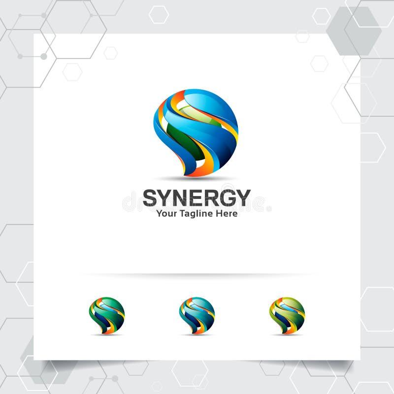 Vecteur de conception de la lettre S du logo 3D de Digital avec le style color? moderne pour la technologie, le logiciel, le stud illustration de vecteur