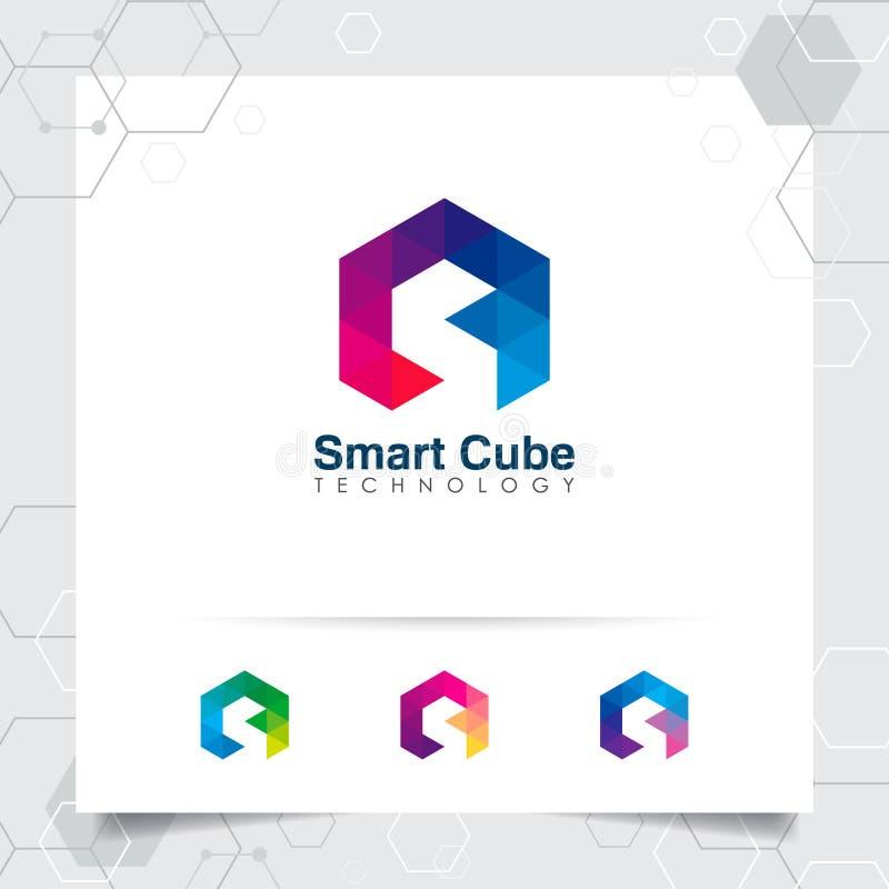 Vecteur de conception de la lettre S de logo de Digital avec le pixel coloré moderne pour la technologie, le logiciel, le studio, illustration libre de droits