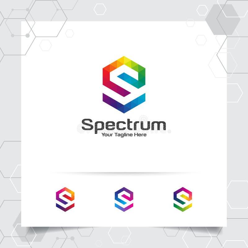 Vecteur de conception de la lettre S de logo de Digital avec le pixel color? moderne pour la technologie, le logiciel, le studio, illustration libre de droits