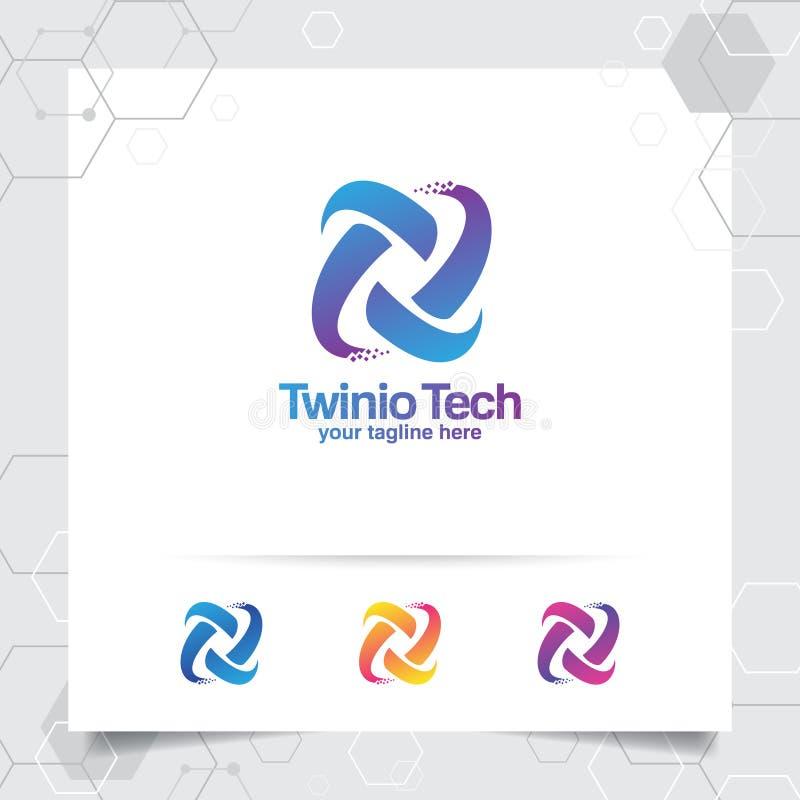 Vecteur de conception de la lettre T de logo de Digital avec le pixel coloré moderne pour la technologie, le logiciel, le studio, illustration stock