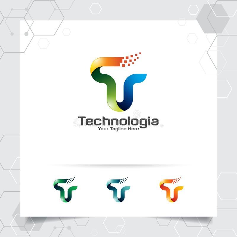 Vecteur de conception de la lettre T de logo de Digital avec le pixel color? moderne pour la technologie, le logiciel, le studio, illustration stock
