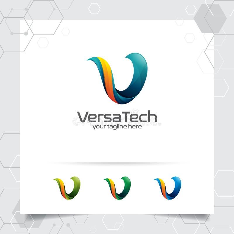 Vecteur de conception de la lettre V du logo 3D de Digital avec le style color? moderne pour la technologie, le logiciel, le stud illustration libre de droits