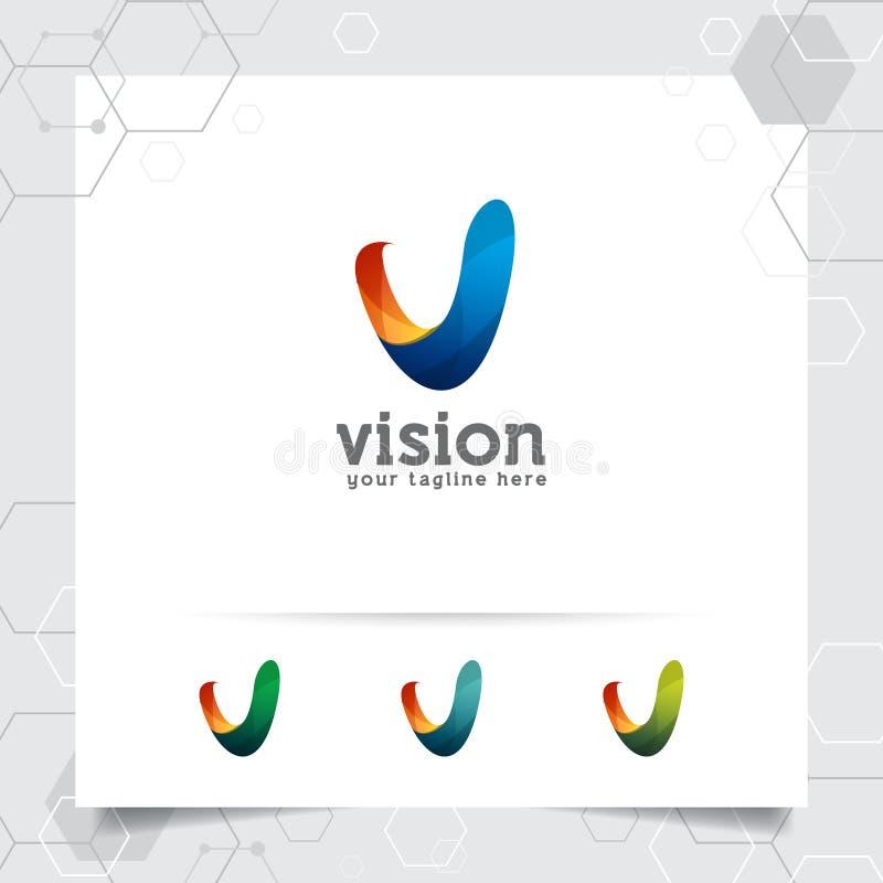 Vecteur de conception de la lettre V du logo 3D de Digital avec le style color? moderne pour la technologie, le logiciel, le stud illustration de vecteur