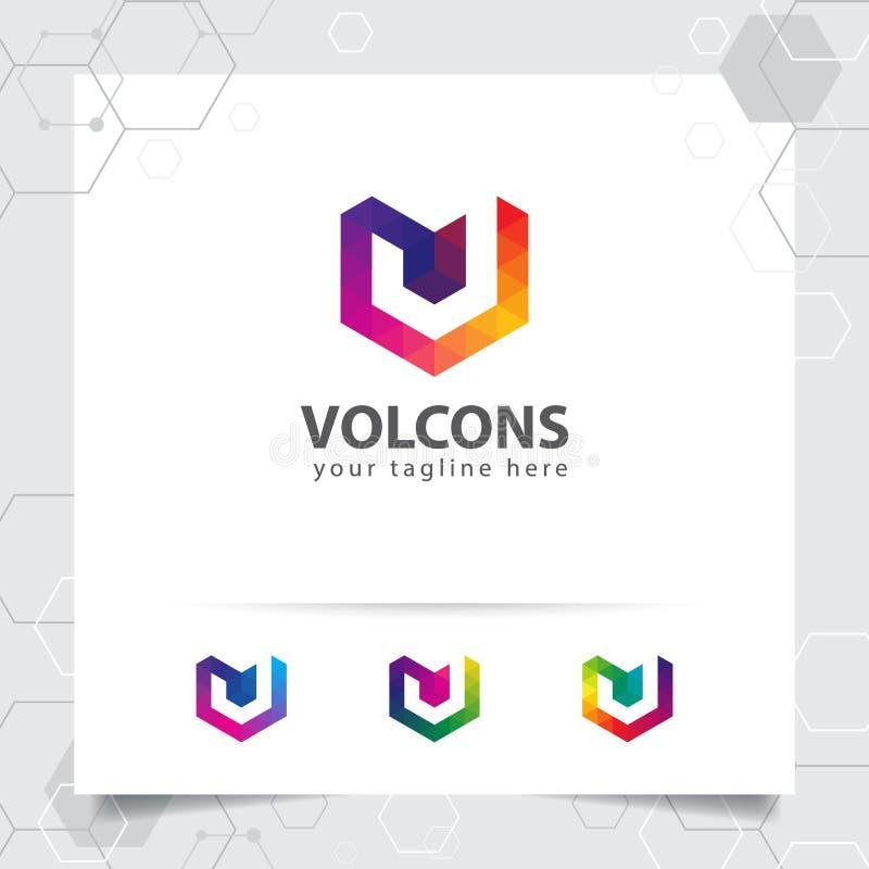 Vecteur de conception de la lettre V de logo de Digital avec l'ic?ne color?e moderne de pixel pour la technologie, le logiciel, l illustration stock
