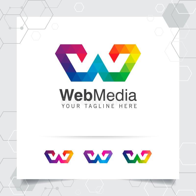 Vecteur de conception de la lettre W de logo de Digital avec l'icône colorée moderne de pixel pour la technologie, le logiciel, l illustration stock