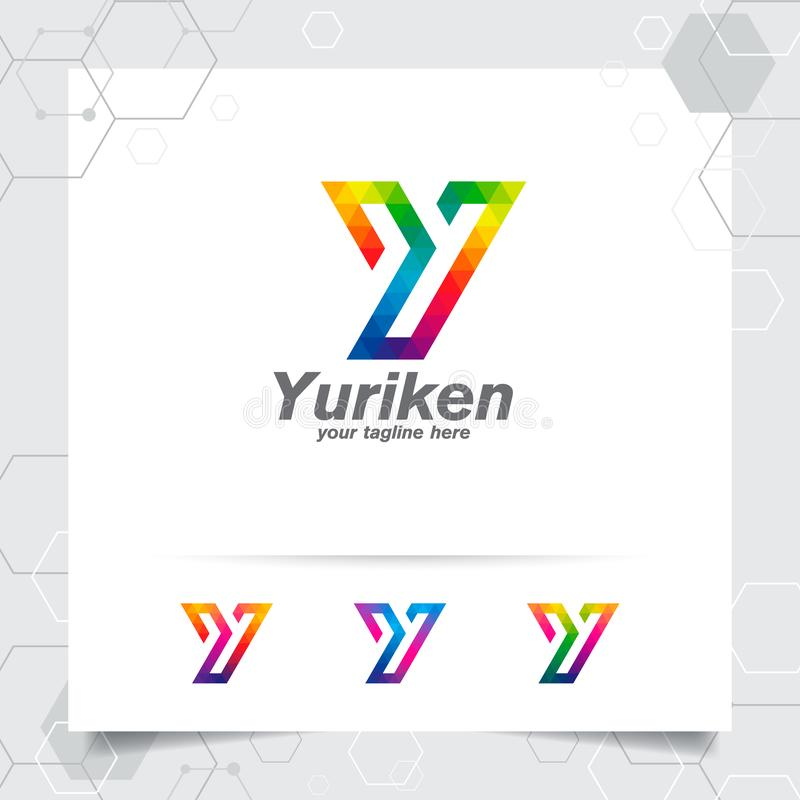 Vecteur de conception de la lettre Y de logo de Digital avec l'icône colorée moderne de pixel pour la technologie, le logiciel, l illustration libre de droits