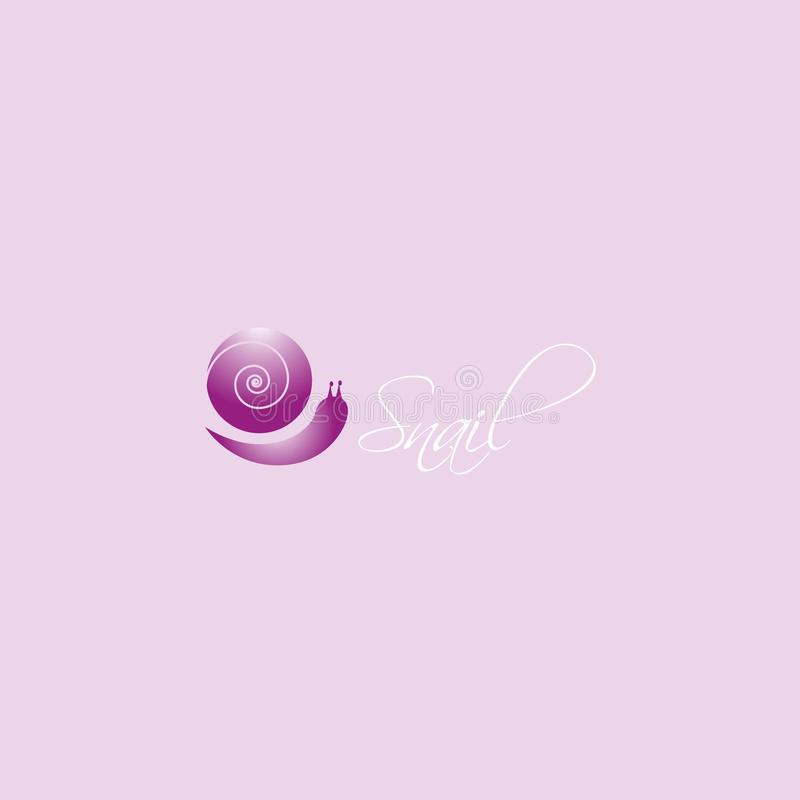Vecteur de conception de logo d'escargot d'isolement sur le fond blanc illustration stock