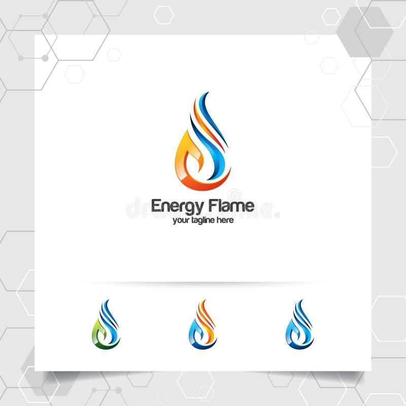 Vecteur de conception de logo de gaz de pétrole avec le concept du flambage du feu et l'icône de gouttelettes d'huile pour l'indu illustration libre de droits