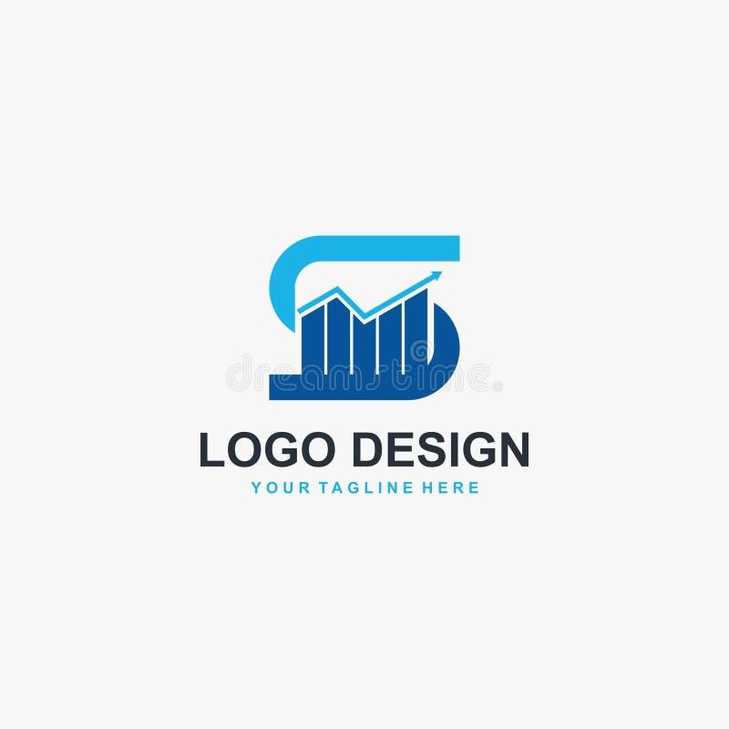 Vecteur de conception de logo de graphique de la lettre S Conception financi?re de logo illustration stock