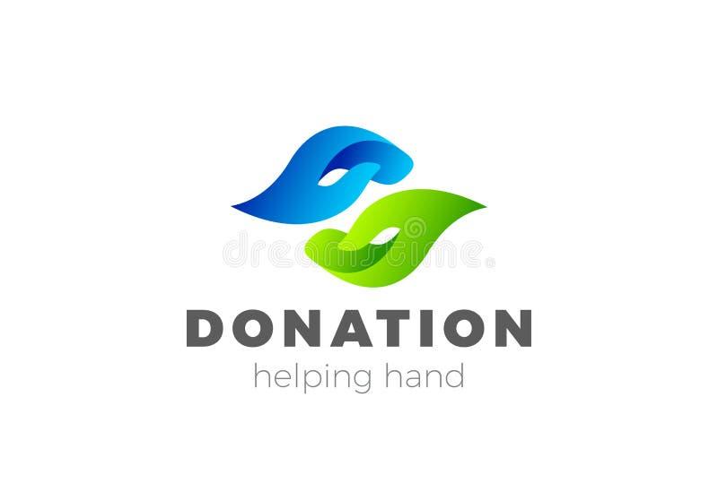 Vecteur de conception de logo de main d'aide de donation Rondin de charité illustration stock