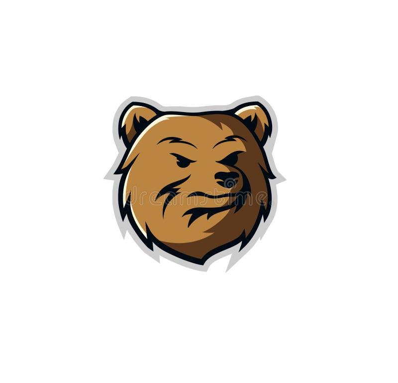 Vecteur de conception de logo de mascotte d'ours illustration libre de droits