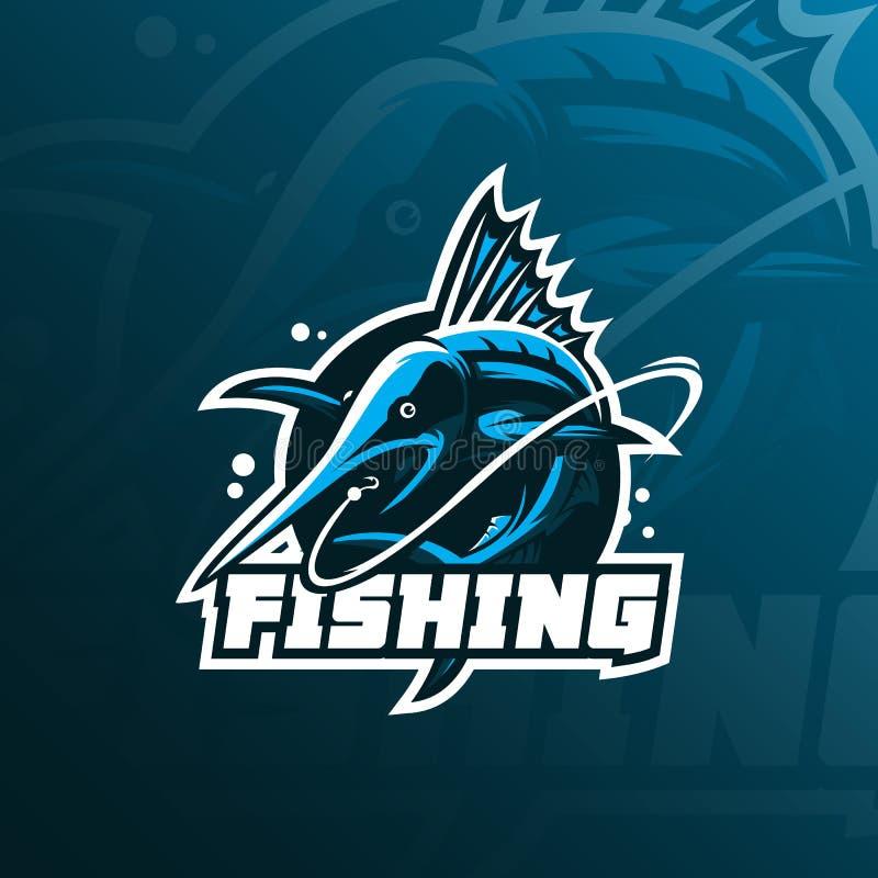 Vecteur de conception de logo de mascotte de marlin de poissons avec le style moderne de concept d'illustration pour l'impression illustration libre de droits