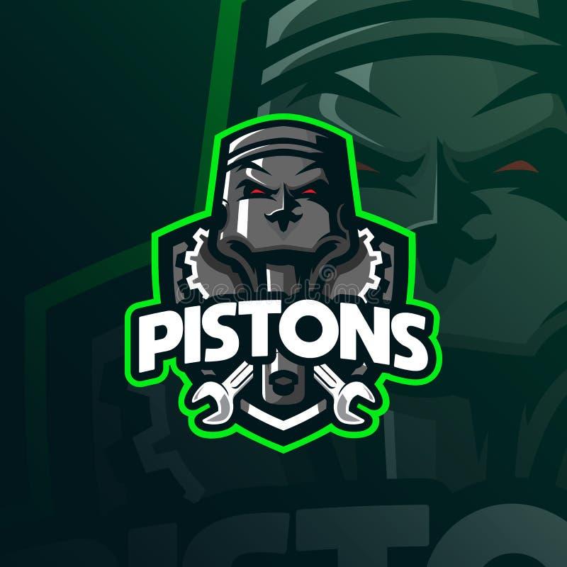 Vecteur de conception de logo de mascotte de piston avec le style moderne de concept d'illustration pour l'impression d'insigne,  illustration libre de droits