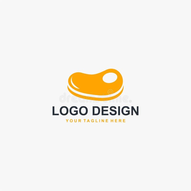 Vecteur de conception de logo de viande de bifteck Conception de logo de nourriture pour la restauration illustration stock