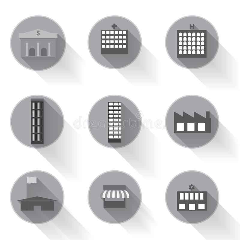 Vecteur de conception plate d'icône de bâtiment urbain graphique photographie stock libre de droits
