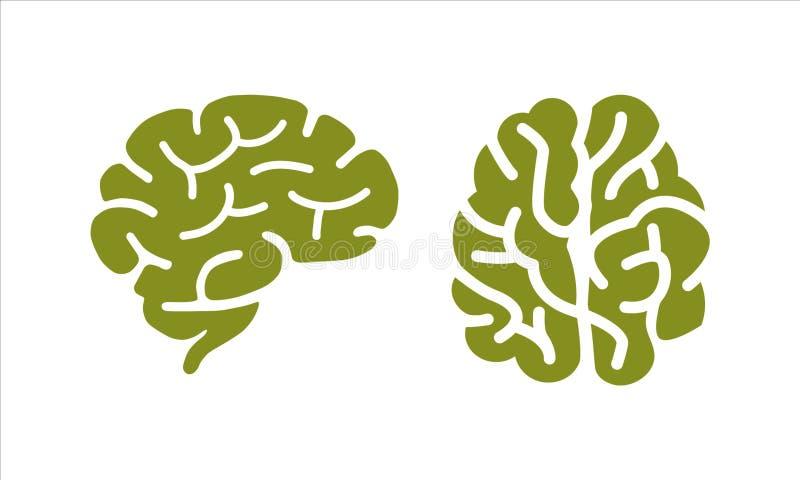 Vecteur de conception de vue supérieure de silhouette de Brain Logo illustration libre de droits