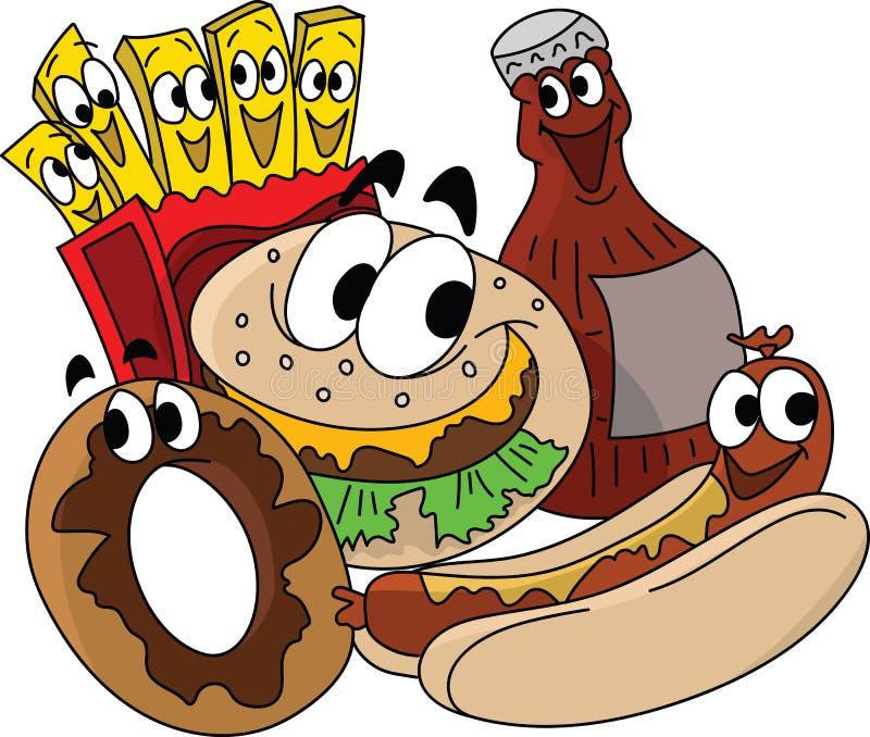 Vecteur de conceptions de personnages, de cheeseburger, de pommes frites, de beignet et de kola d'aliments de préparation rapide illustration de vecteur