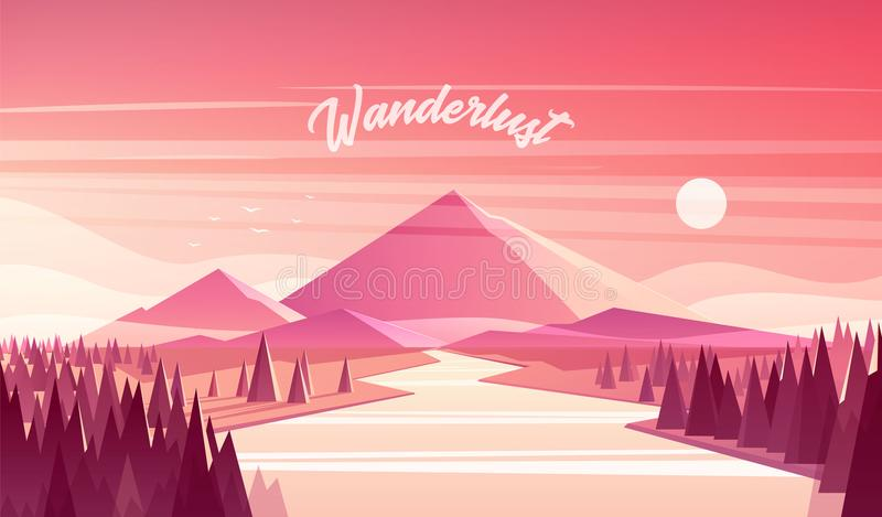 Vecteur de coucher du soleil de rivière de forêt de sapin de paysage de montagne illustration stock