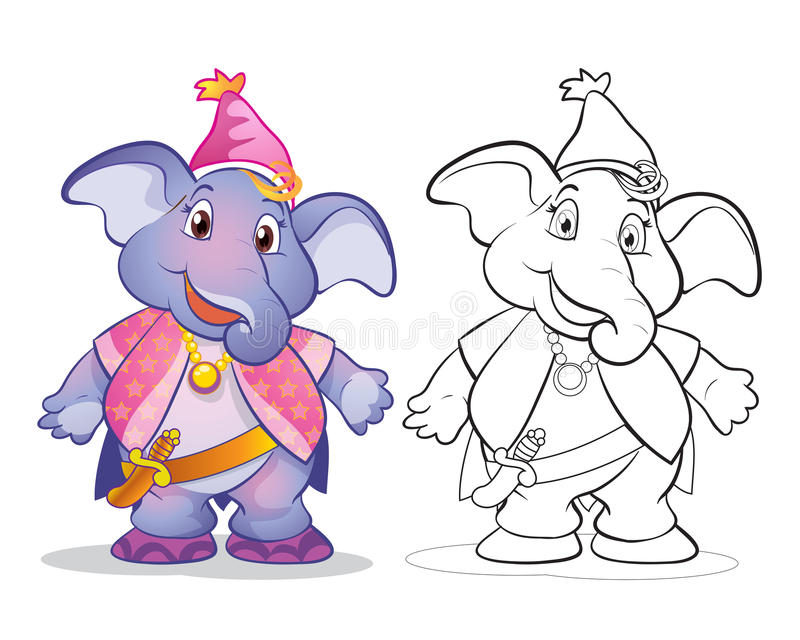 Vecteur de couleur et schéma mignons de bande dessinée d'elephane de mascotte illustration de vecteur