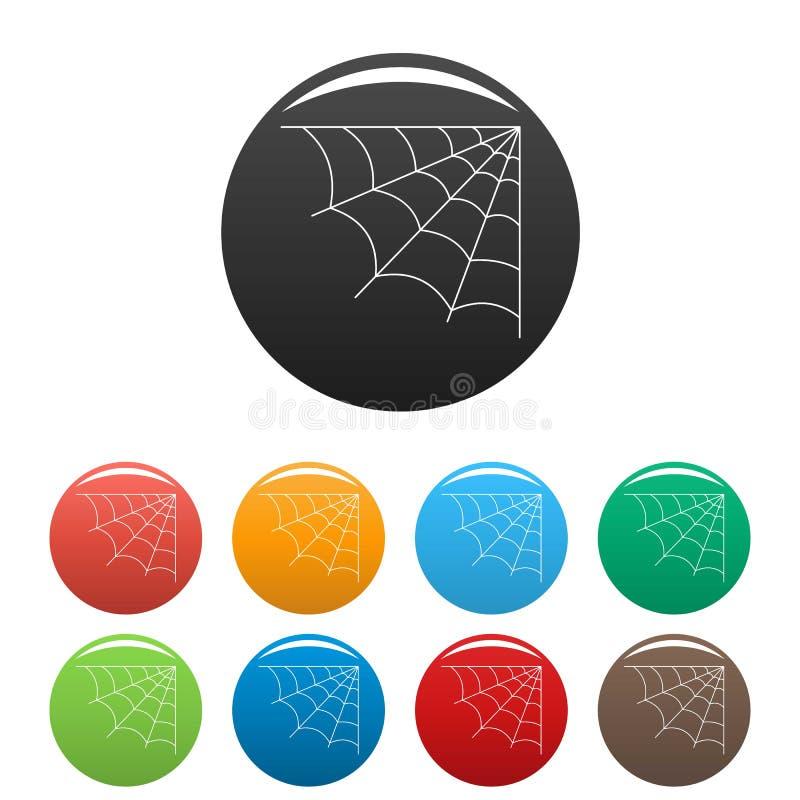 Vecteur de couleur réglé par icônes cellulaires de toile d'araignée illustration libre de droits