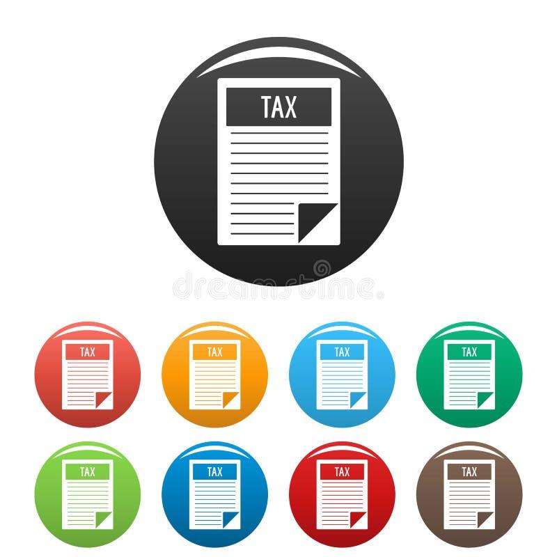 Vecteur de couleur réglé par icônes de feuille d'impôts illustration de vecteur