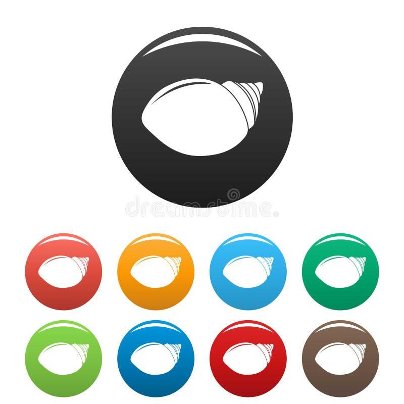 Vecteur de couleur réglé par icônes de Shell de mollusques illustration de vecteur