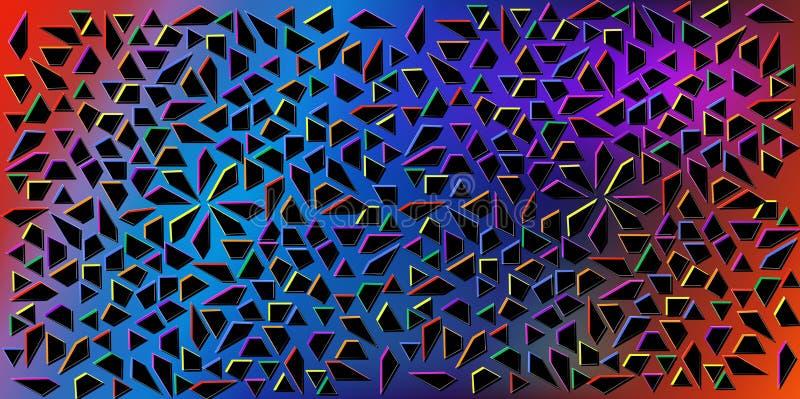 Vecteur de couleurs foncées de petites triangles noires sur le fond coloré Illustration de la texture abstraite des triangles Con illustration libre de droits